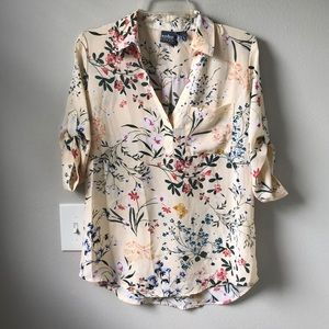 New York & Company Yellow Floral Collard Top